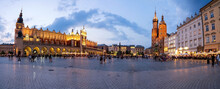 A Panorama Picture Of Krakow`s Main Square Rynek Główny Featuring The Cloth Hall, St. Mary`s Basilica And The Town Hall Tower