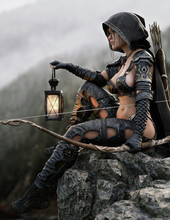 A Fantasy Female Ranger Scout Takes A Seated Position On A Mountain Outcrop Overlooking The Valley Below Wearing Leather Armor A Hooded Cloak And Equipped With A Bow And Arrow. 3d Rendering