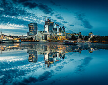 London Business District Center Cityscape With Reflections From The Thames River