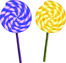 Vector Illustration Of Isolated Purple And Yellow Lollipops. Twisted Candy On Stick With Spirals.