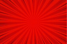 Abstract Background Comic Cartoon Red Zoom Lines With Halftone Pattern.