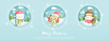 Merry Christmas, Christmas Card, Banner With Vintage Snowman.