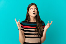 Teenager Brazilian Girl Over Isolated Blue Background Stressed Overwhelmed