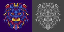 Lion Head Robot Illustration For T Shirt Design