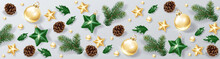 Christmas Decorative Border And Background Made Of Festive Decoration Elements. New Year Concept. Green And Gold Color