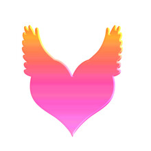 Pink Heart With Wings On A White Background