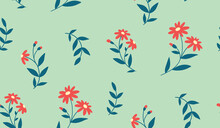 Floral Pattern With Painted Red Flowers. Abstract Background With Small Flowers On Stems, Leaves. Seamless Pattern With Botany. Vector.