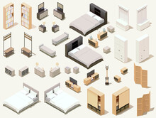 Vector Isometric Home Furniture Set. Domestic Furniture And Equipment. Chairs, Lamps, Cabinets, Beds Stools And Other Furniture
