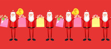 Christmas Sale Design. 3D Santa Claus Character With Gift Bags. Season Offer. Seamless Pattren.