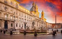 Piazza Navona At Sunset