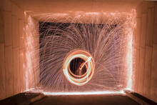 Steel Wool Photograph Framed In Tunnel