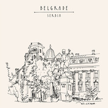 Belgrade, Serbia. Monument To Vojvoda Vuk (Vojin Popovic) At Toplicin Venac. Hand Drawing In Retro Style. Travel Sketch. Vintage Touristic Postcard, Poster, Calendar Or Book Illustration