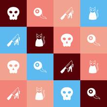 Set Pop Art Skull, Eye, Bloody Knife And Black Cat Icon. Vector