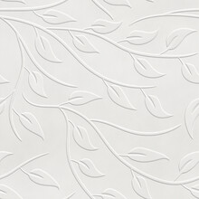 Embossed Motif Pattern On Paper Background, Seamless Texture, Leaves Pattern, Paper Press, 3d Illustration