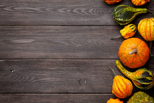 Various Colorful Squashes And Pumpkins