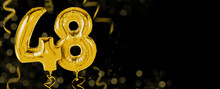 Golden Balloons With Copy Space - Number 48
