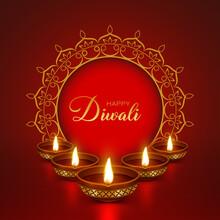Beautiful Elegant Golden Diya For Indian Festivals