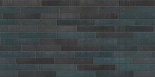 Old Masonry Spilled Brick Wall In Grey Dark Blue Green Colors, City Facade Realistic Decoration For Template And Layout Decoration, Interior Brick Gray Wall Pattern 3d