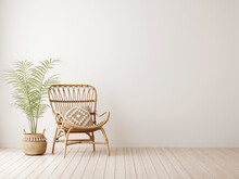 Empty Wall Mockup In Warm Neutral Beige Room Interior With Wicker Armchair, Palm Plant In Woven Basket, Boho Style Decoration And Free Space. Illustration, 3d Rendering