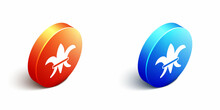 Isometric Fleur De Lys Icon Isolated On White Background. Orange And Blue Circle Button. Vector