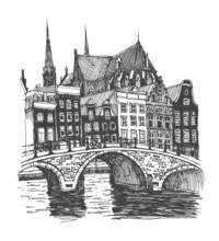 Liner Sketches Homes Of Amsterdam, Holland, Hand Drawing Sketch, Graphic Illustration. Hand Drawn Travel Postcard. Urban Sketch In Black Color On A White Background. Travel Sketch.