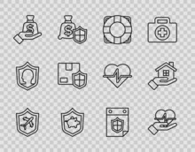 Set Line Plane With Shield, Life Insurance In Hand, Lifebuoy, Piggy Bank, Money, Delivery Security, Calendar And House Icon. Vector