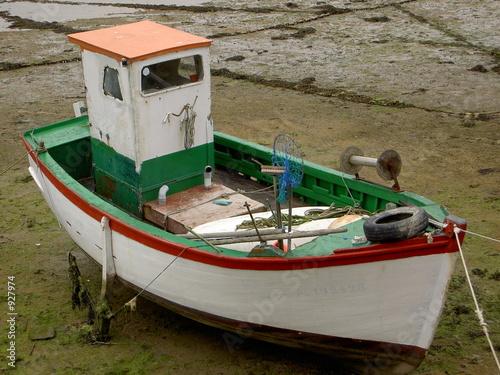 Canvas Print bateau a maree basse