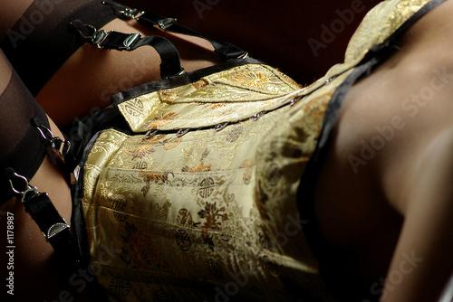 korsett mit strapsen im detail Fototapeta