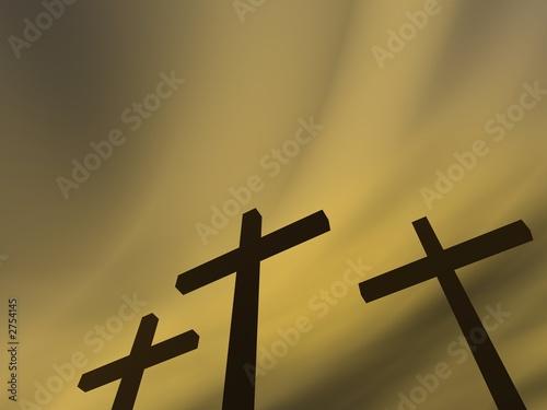 Valokuvatapetti crosses under the gloomy sky