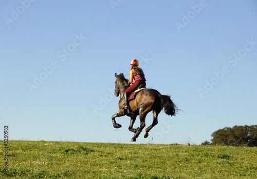 horseman galloping at high speed Fototapeta
