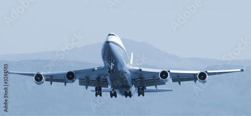 Canvas Print decollage boeing 747 bleu