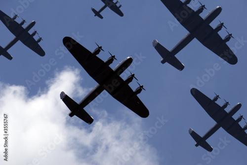 Vászonkép British Lancaster bombers flying overhead.