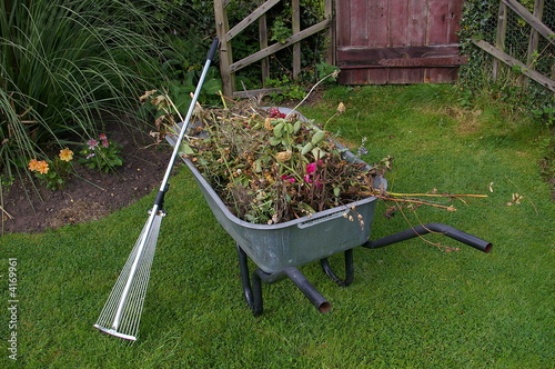 Canvas wheelbarrow with garden waste