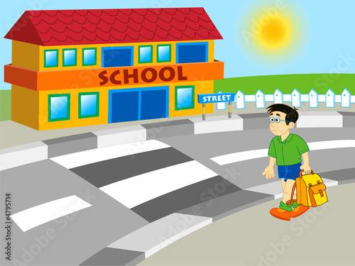 Fototapeta premium chłopiec idzie do szkoły - ilustracja kreskówka
