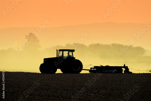 Canvas Print Tractor Silhouettes