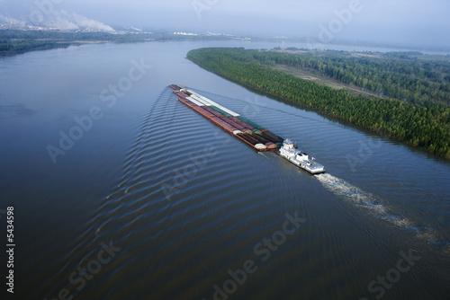 Barge on Mississippi. Fototapeta