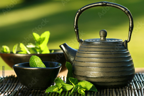 Black iron asian teapot with sprigs of mint for tea #5535303
