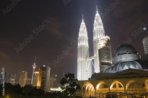 Image of Kuala Lumpur skyline at night.