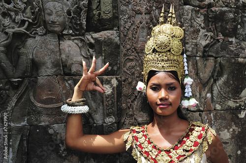 Canvas Print Cambodia, Angkor: Apsara in BAYON temple