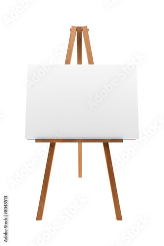 Photo wooden easel with blank canvas isolated on white background