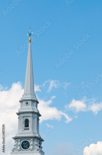 Wallpaper Mural White church steeple with clock and weather vane