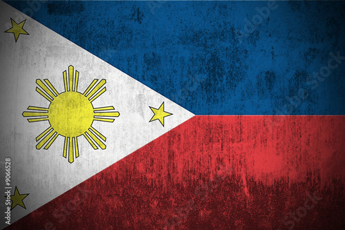 Weathered Flag Of Philippines, fabric textured..