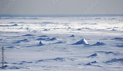 Endless Antarctic snowfields beyond horizons