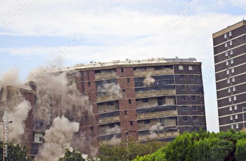 Fotografie, Tablou Demolition of 1960s building in Sighthill, Edinburgh.