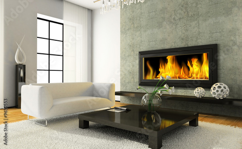 Fotografia View on the modern interior with fireplace 3D rendering