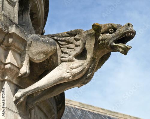 Fotografia, Obraz Terrible gargoyle on a cathedral in France