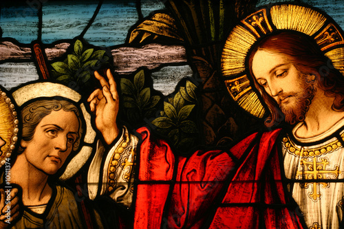 Fototapeta Stained glass showing Jesus blessing a man