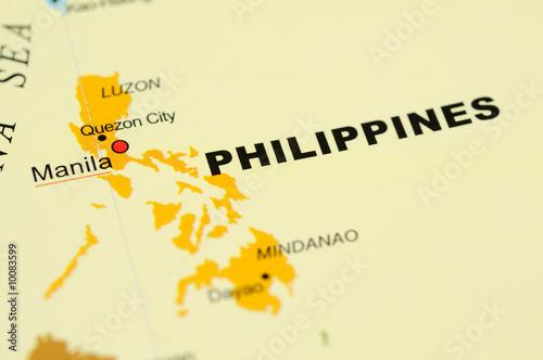 Close up of Manila, Philippines on map
