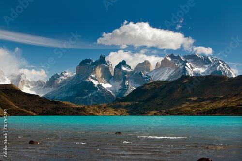 Torres del Paine mountain range, Patagonia Fototapet