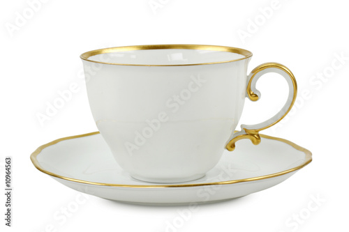 tea cup with plate isolated on white